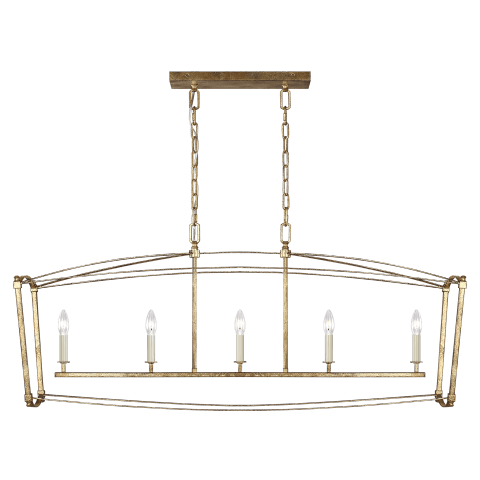 Thayer 5 - Light Linear Chandelier Antique Gild