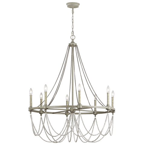 Beverly Large Chandelier French Washed Oak / Distressed White Wood