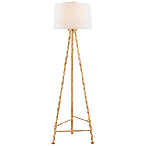 Lafitte Large Floor Lamp in Antique Gold Leaf with Linen Shade