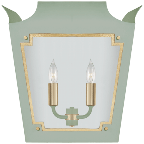 Caddo Lantern Sconce in Celadon and Gild with Clear Glass
