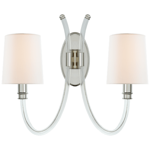 Clarice Double Sconce in Crystal and Polished Nickel with Linen Shades