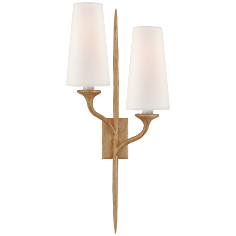 Iberia Double Sconce in Gild with Linen Shades