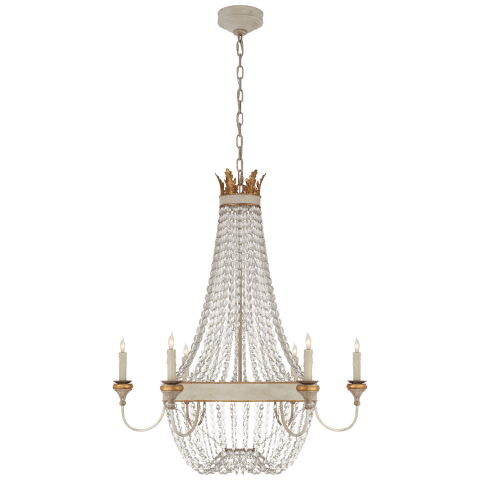 Entellina Chandelier in Vintage White and Gild with Crystal