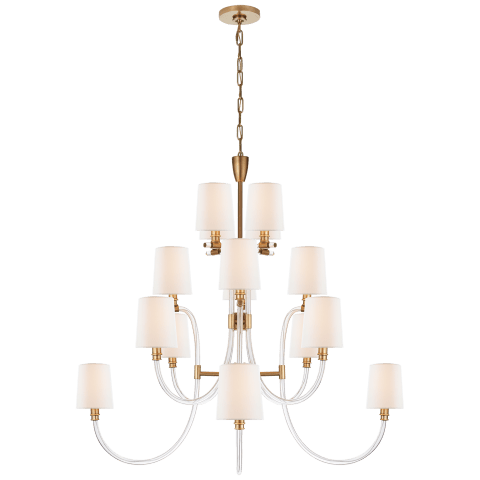 Clarice Large Chandelier in Crystal and Antique-Burnished Brass with Linen Shades