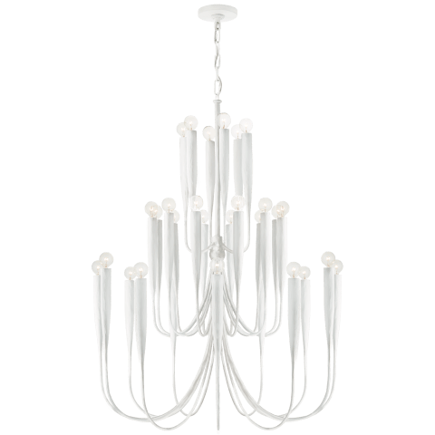 Acadia Large Chandelier in Plaster White