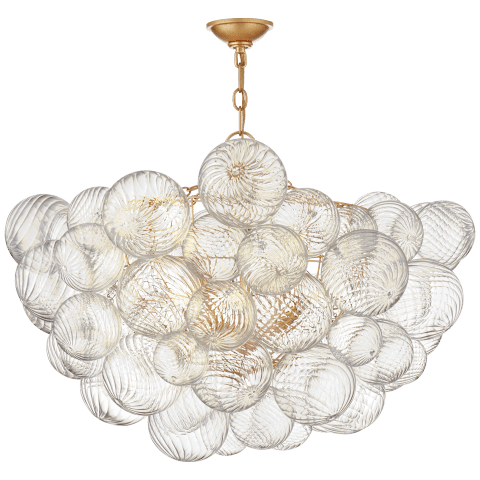 Talia Large Chandelier in Gild and Clear Swirled Glass