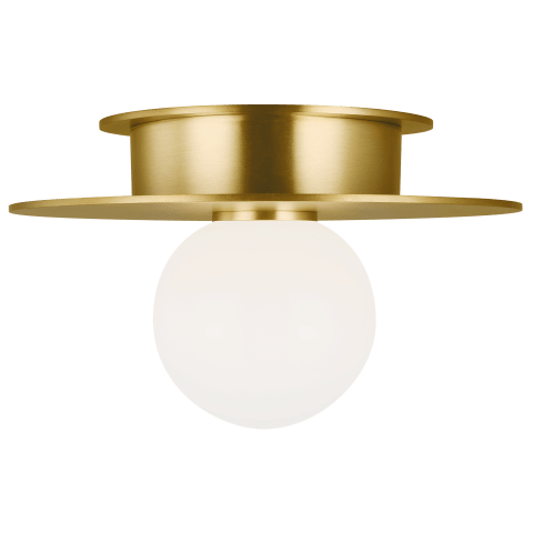 Nodes 1 - Light Small Flush Mount Burnished Brass