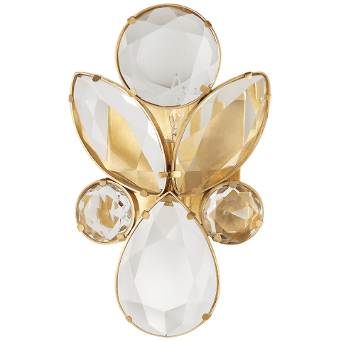Lloyd Small Jeweled Sconce in Soft Brass with Clear Crystal