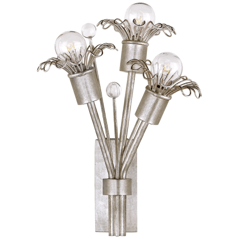Keaton Mini Bouquet Sconce in Burnished Silver Leaf