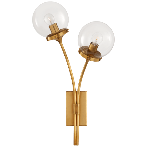 Prescott Right Sconce in Soft Brass with Clear Glass