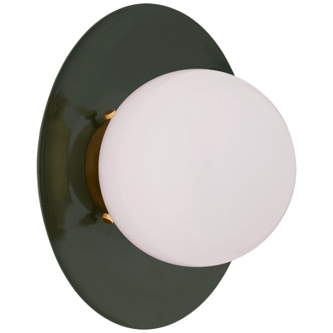Boswell Small Sconce in Evergreen and Gild with White Glass