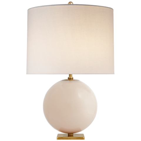 Elsie Table Lamp in Blush Painted Glass with Cream Linen Shade
