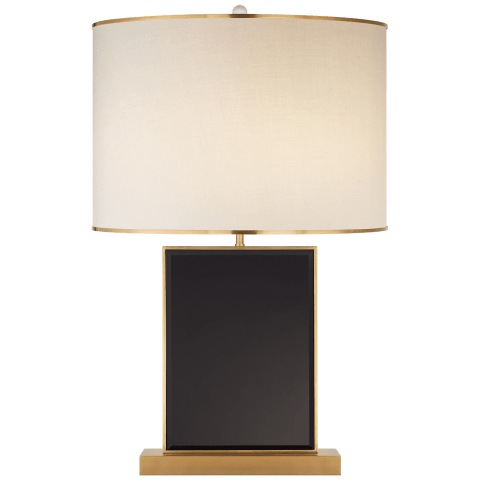 Bradford Large Table Lamp in Black and Soft Brass with Cream Linen Shade with Soft Brass Trim