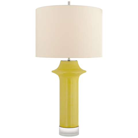 Giry Large Peaked Table Lamp in Yellow Crackle with Linen Shade