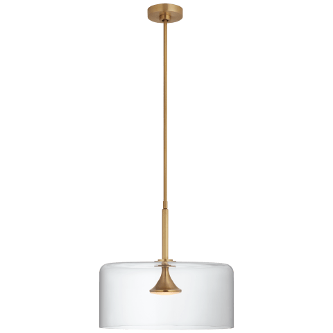 "Rochester 18"" Dome Pendant in Soft Brass with Clear Glass"