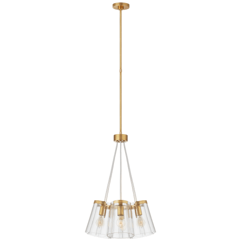 Thoreau Small Chandelier in Soft Brass and Cream with Clear Glass