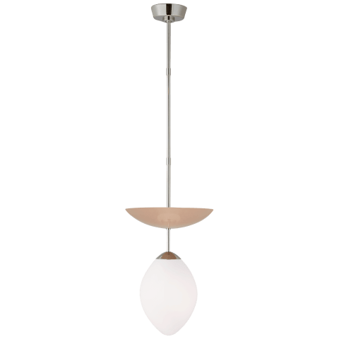 Boswell Small Pendant in Polished Nickel and Blush with White Glass
