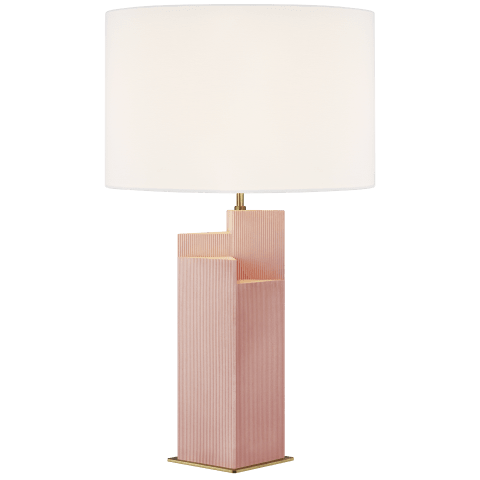 Portman Table Lamp Blush with Burnished Brass Bulbs Inc
