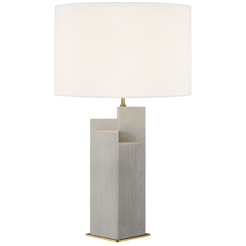 Portman 2 - Light Table Lamp Natural Concrete with Burnished Brass Bulbs Inc