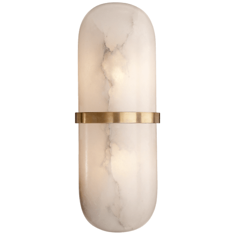 Melange Pill Form Sconce in Antique-Burnished Brass with Alabaster