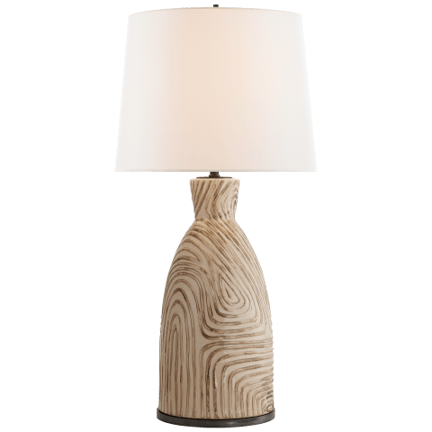 Effie Table Lamp in Sand and Blue Stripes with Linen Shade