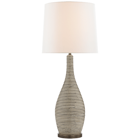 Sonara Table Lamp in Ivory and Chalk Black Pearl with Linen Shade