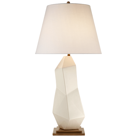 Bayliss Table Lamp in White Leather Ceramic with Linen Shade