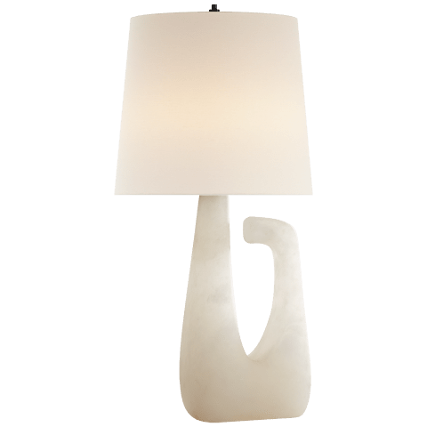 Brier Open Arm Table Lamp in Alabaster with Linen Shade