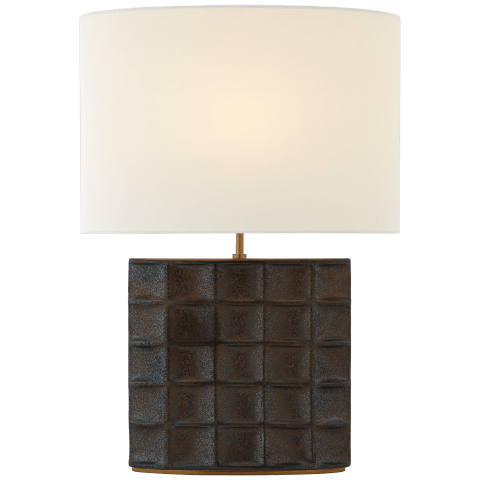 Struttura Medium Table Lamp in Crystal Bronze with Linen Shade
