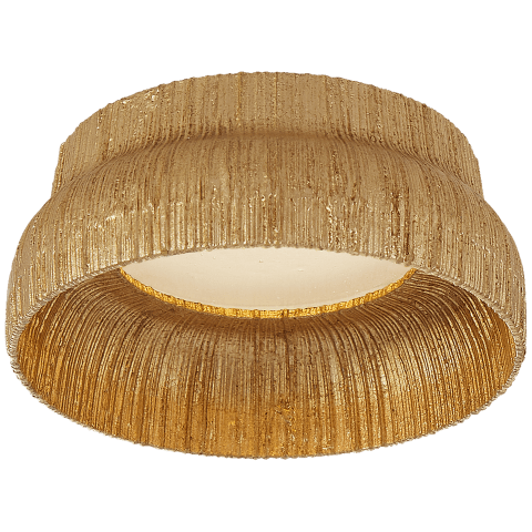 Utopia Petite Flush Mount in Gild with Fractured Glass Trim