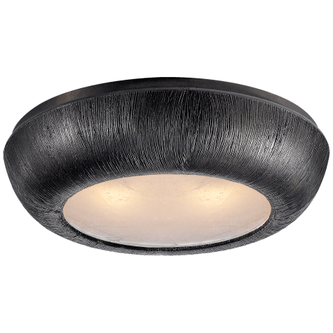 Utopia Medium Round Flush Mount in Aged Iron with Fractured Glass