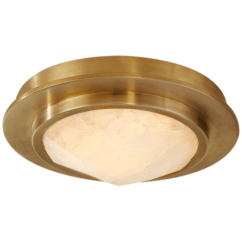 Halcyon Petite Bezel Flush Mount in Antique-Burnished Brass and Natural Quartz