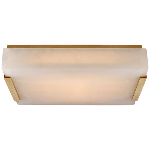 Covet Medium Flush Mount in Antique-Burnished Brass with Alabaster
