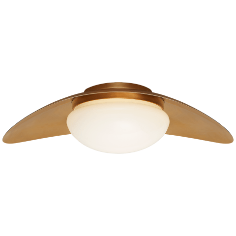 Nouvel Medium Flush Mount in Antique-Burnished Brass with White Glass
