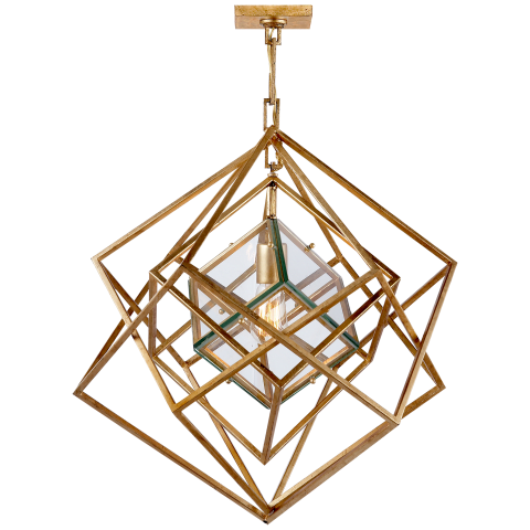 Cubist Small Chandelier in Gild