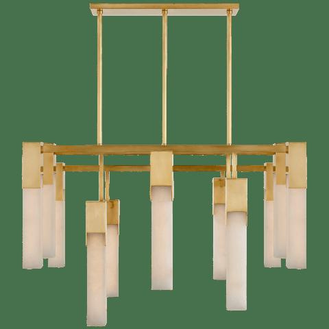 Covet Large Chandelier in Antique-Burnished Brass with Alabaster