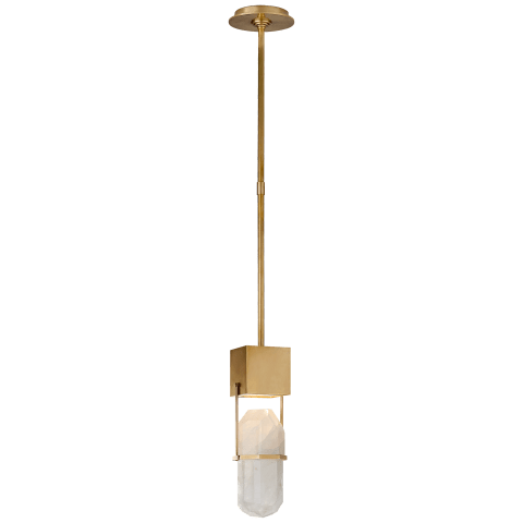 Halcyon Small Pendant in Antique-Burnished Brass and Quartz