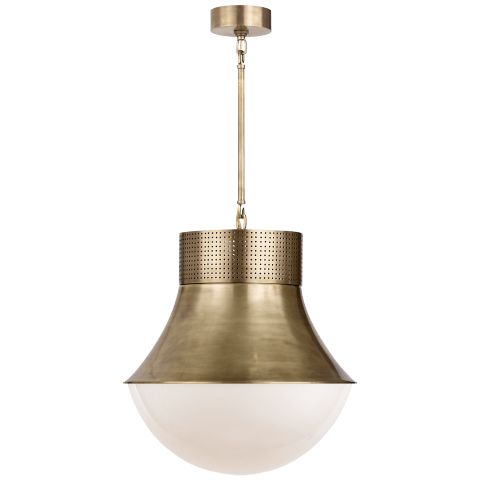 Precision Large Pendant in Antique-Burnished Brass with White Glass