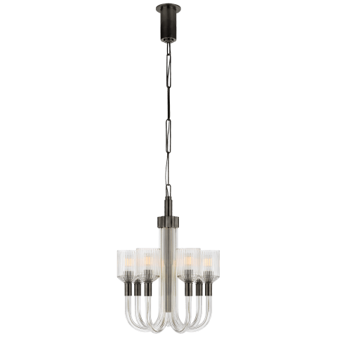 Reverie Small Single Tier Chandelier in Clear Ribbed Glass and Bronze