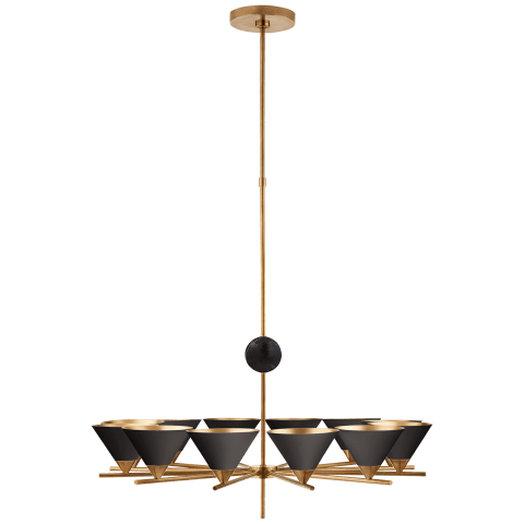 Cleo Large Chandelier in Antique-Burnished Brass with Black Shades