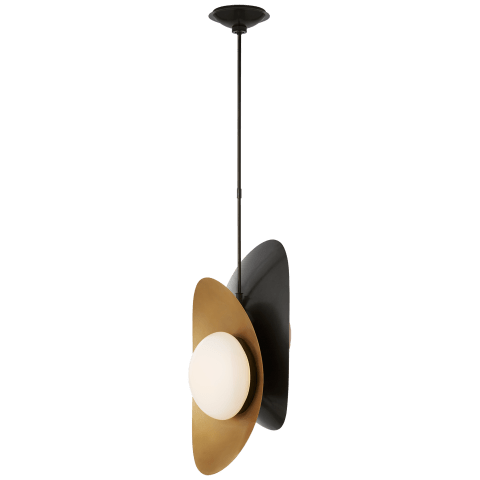 Nouvel Small Pendant in Bronze and Antique-Burnished Brass with White Glass