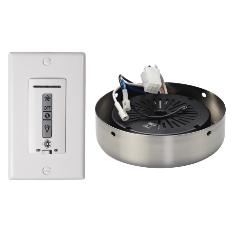 Hardwired wall remote control, receiver, & almond switch plates.BRUSHED STEEL receiver hub. Fan reverse, speed, and downli White