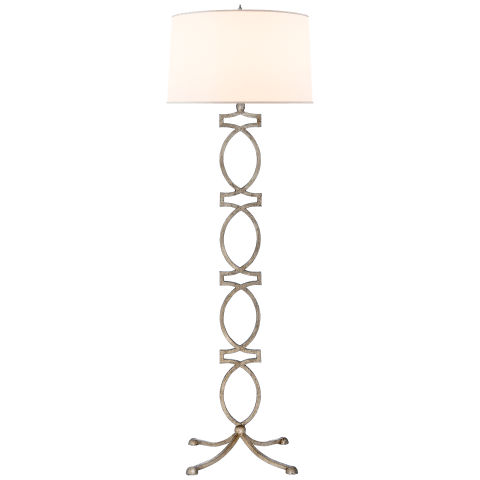 Brittany Floor Lamp in Venetian Silver with Silk Shade