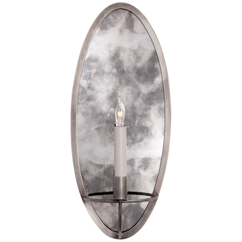 Regent Oval Sconce in Antique Nickel with Antique Mirror