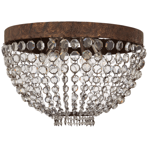 Lyon Large Flush Mount in Antique Gild and Polychrome with Crystal
