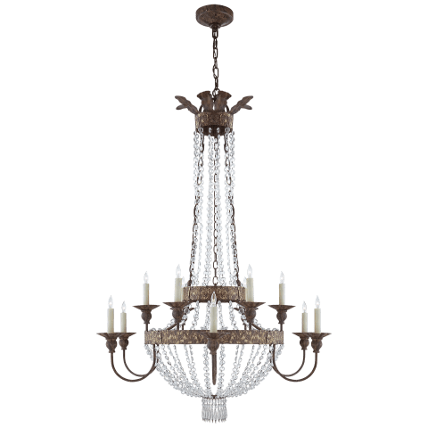 Lyon Large Chandelier in Antique Gild and Polychrome with Crystal