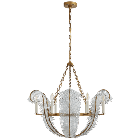 "Calais 34"" Chandelier in Gilded Iron"