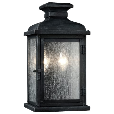 Pediment 2 - Light Outdoor Sconce Dark Weathered Zinc