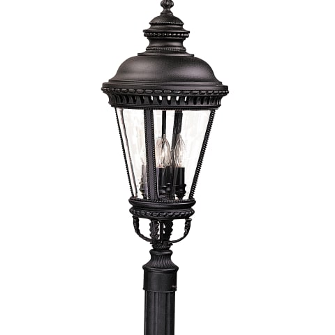 Castle Large Post Lantern Black