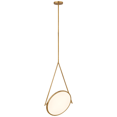 "Dot Stance 13"" Rotating Pendant in Natural Brass"